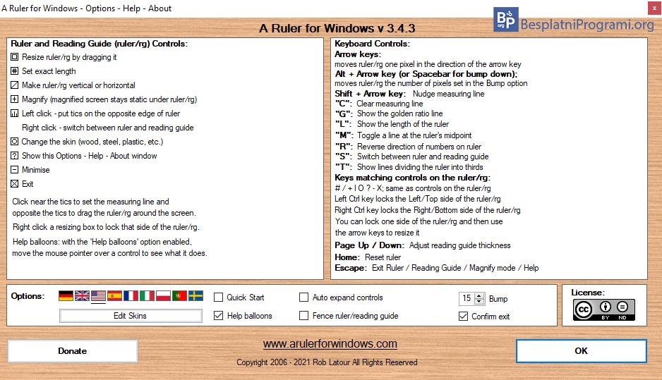 A Ruler for Windows prečice