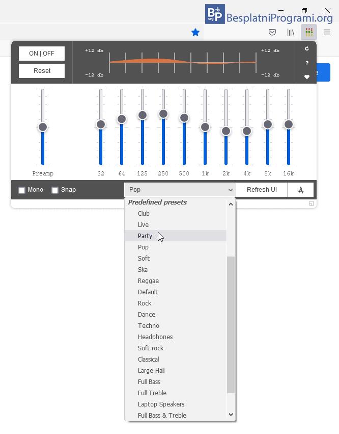 Audio Equalizer biranje podesavanja