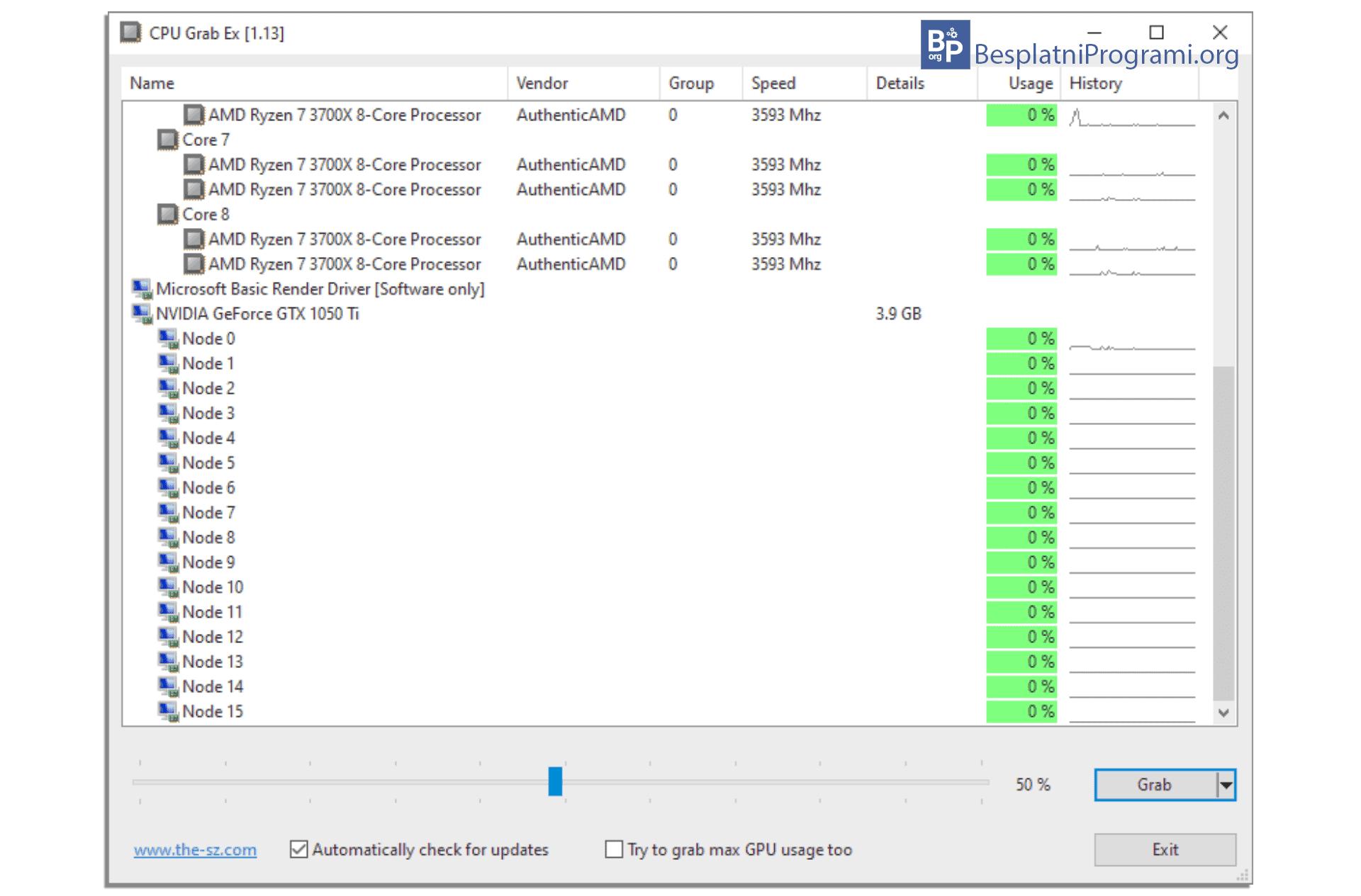 CPU Grab Ex prikaz graficke kartice