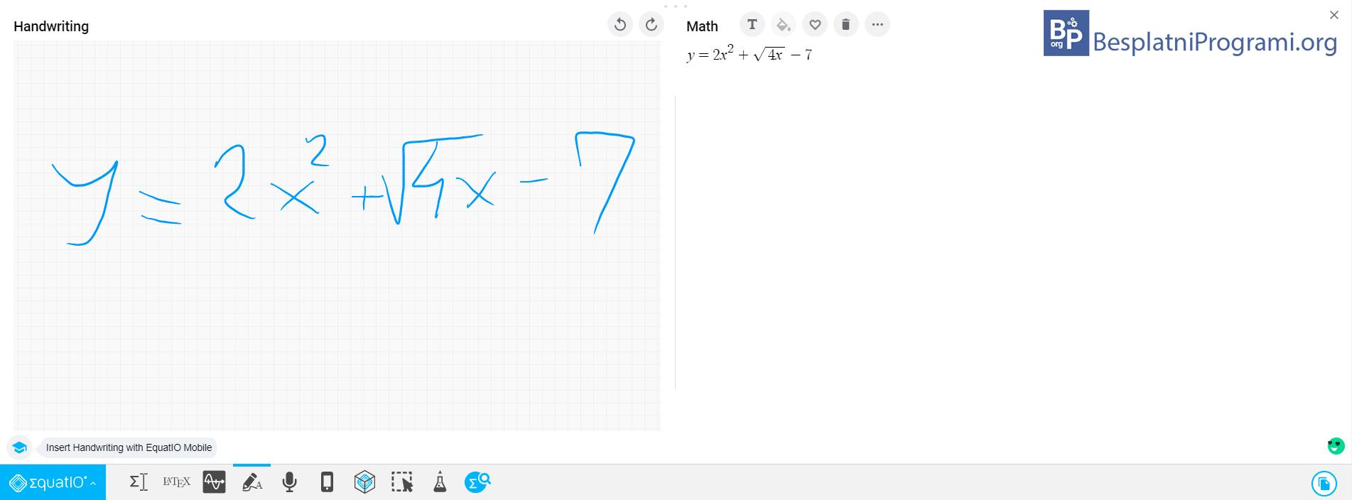 EquatIO upisivanje formule