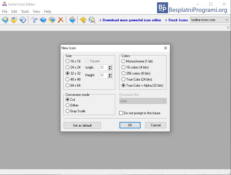 Junior Icon Editor podešavanja