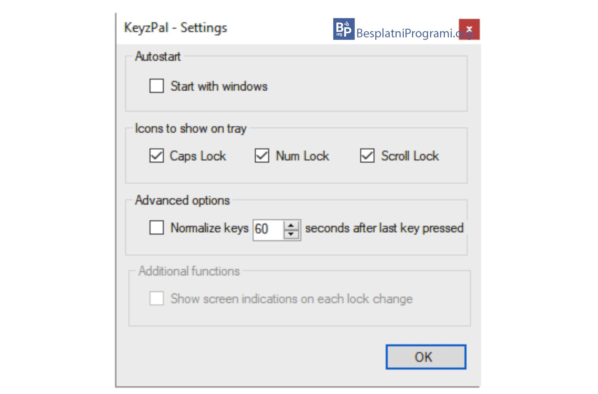 KeyzPal podesavanja