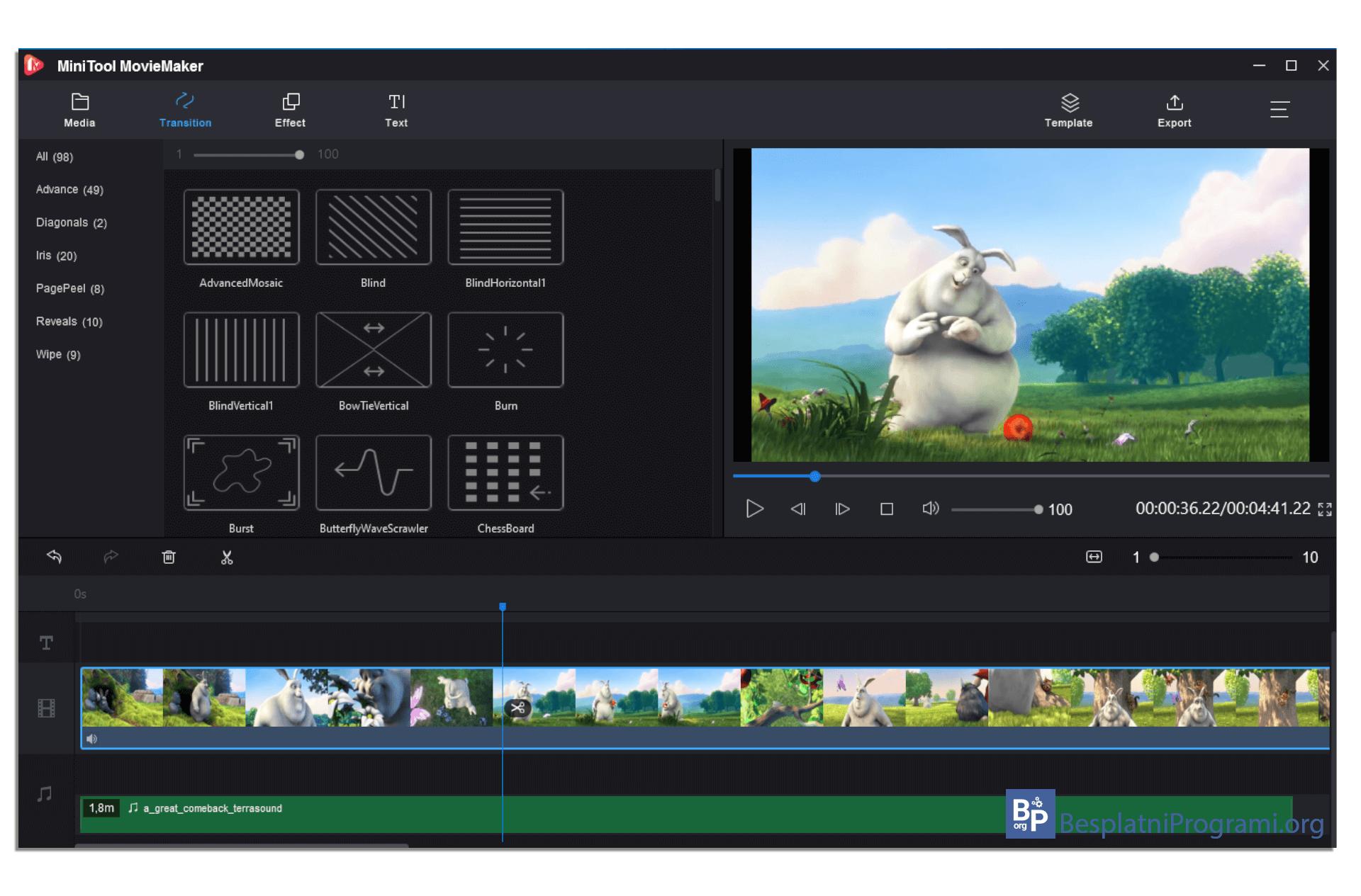 MiniTool MovieMaker tranzicija