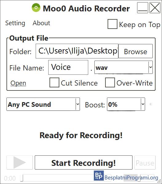 Moo0 Audio Recorder meni