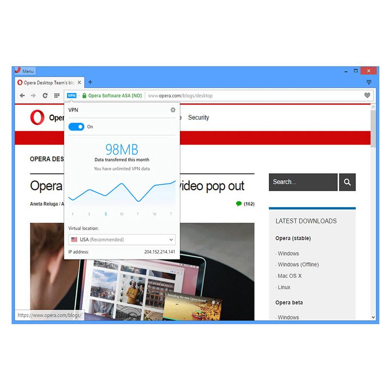 Opera browser uveo VPN, neograničen i besplatan!
