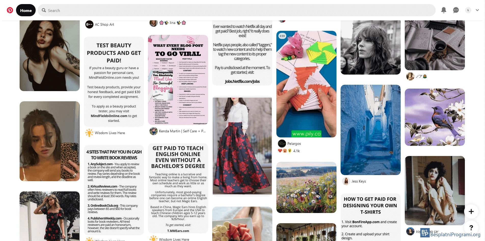 Pinterest naslovna strana