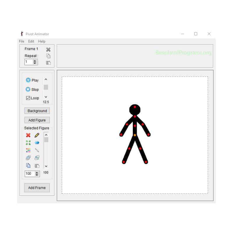 Pivot Animator Glavni prikaz programa