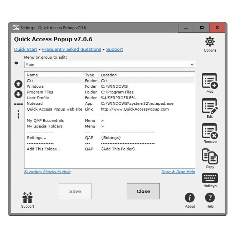 Quick Access Popup