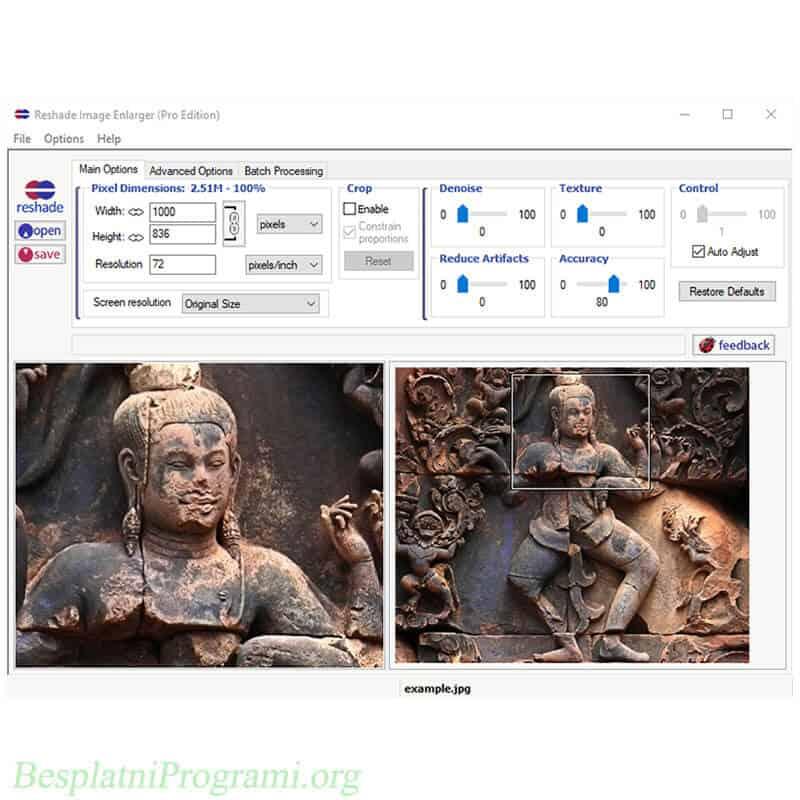 Reshade Image Resizer prikaz programa