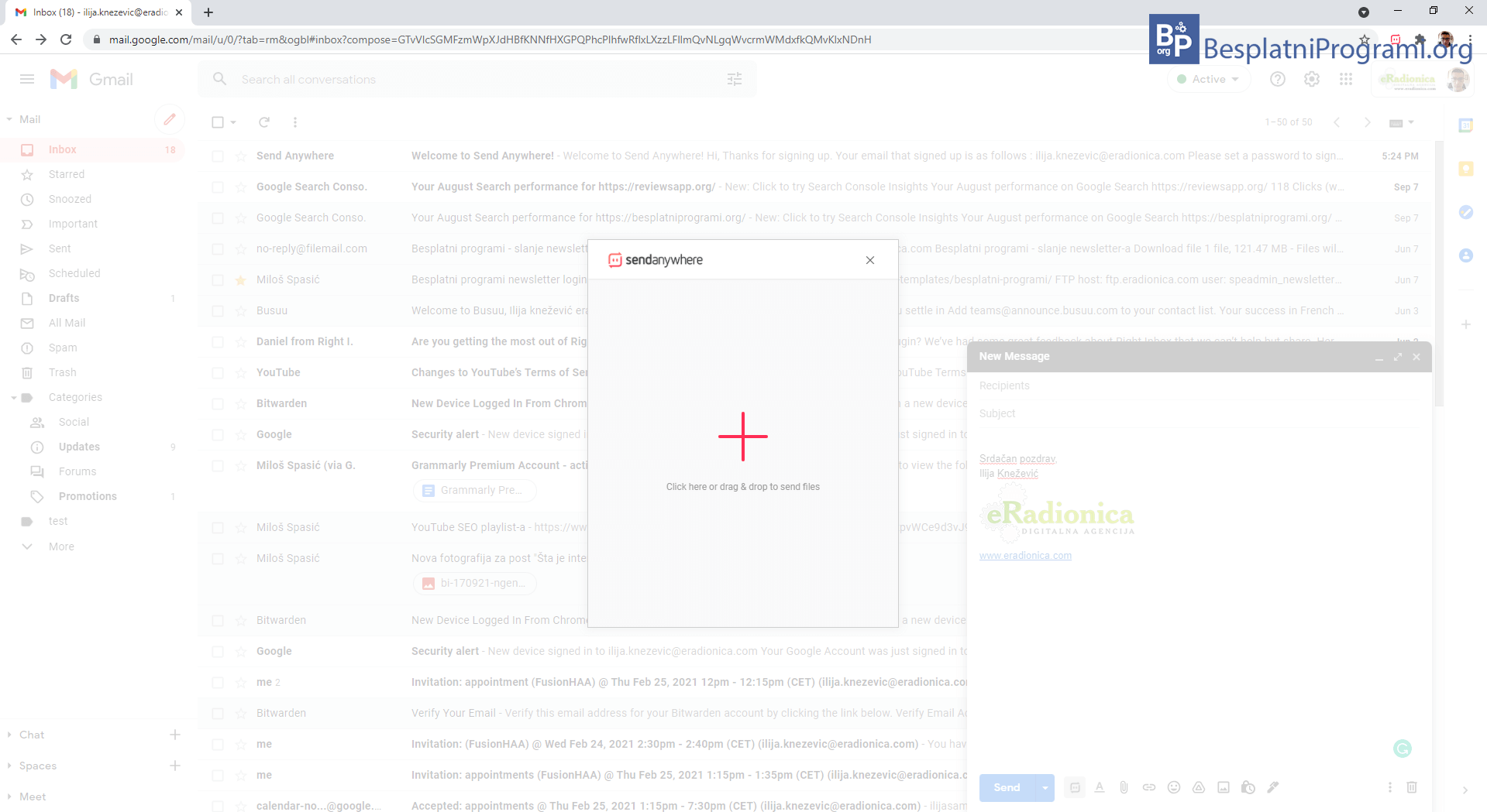 Send Anywhere dodavanje fajla