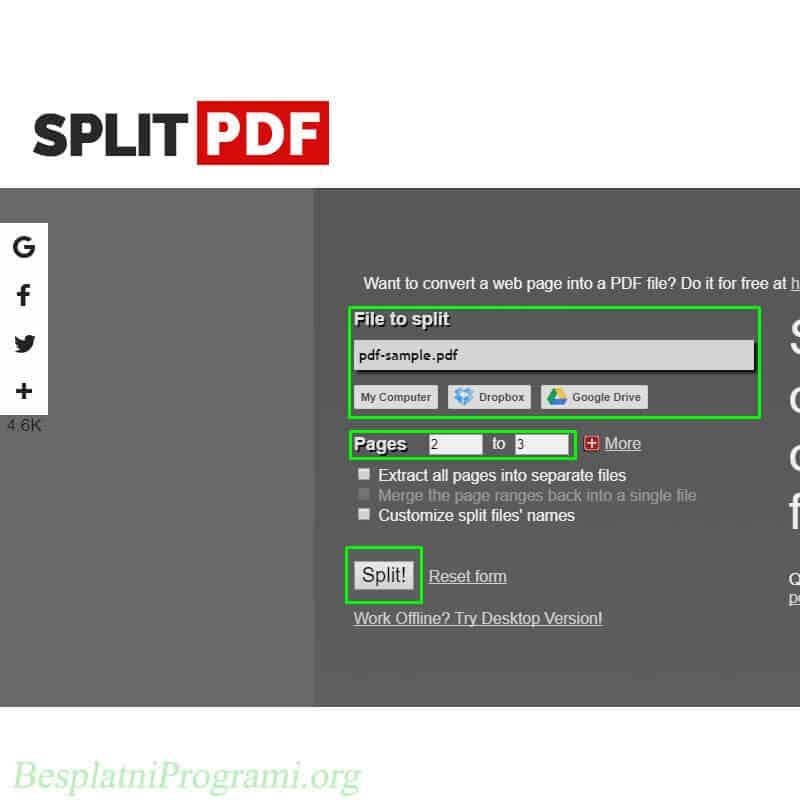 SplitPDF veb sajt