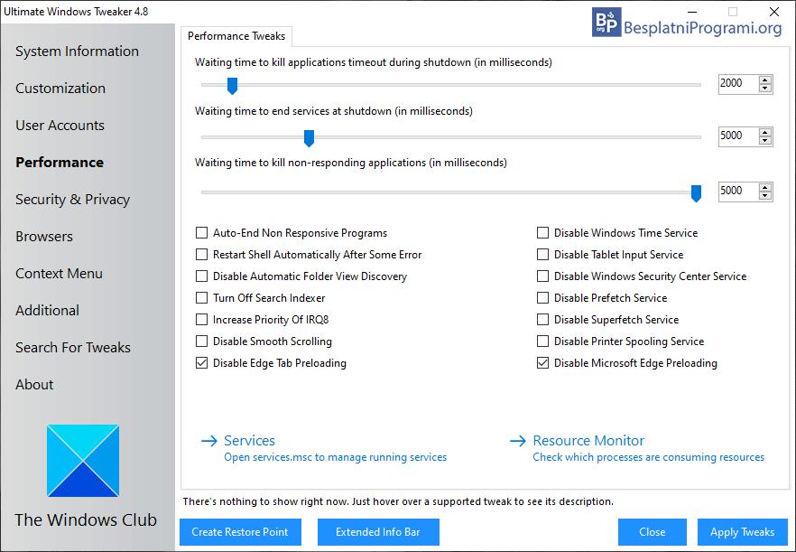 Ultimate Windows Tweaker meni