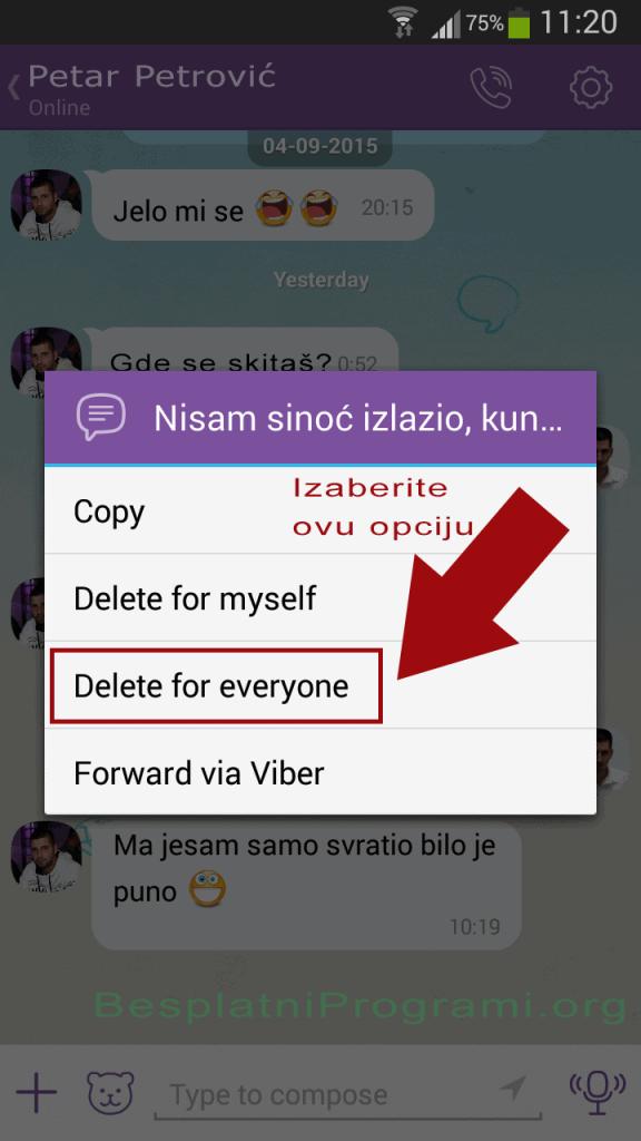 Viber - brisanje poruka i sa telefona sagovornika