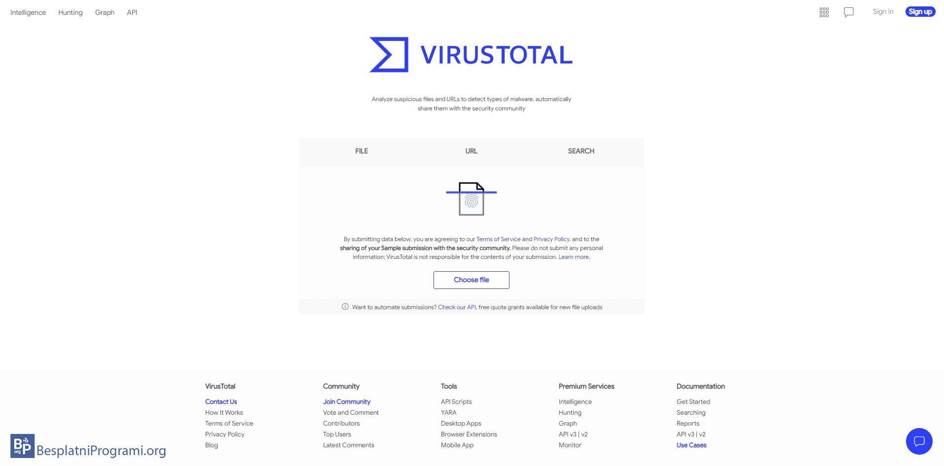 VirusTotal web sajt
