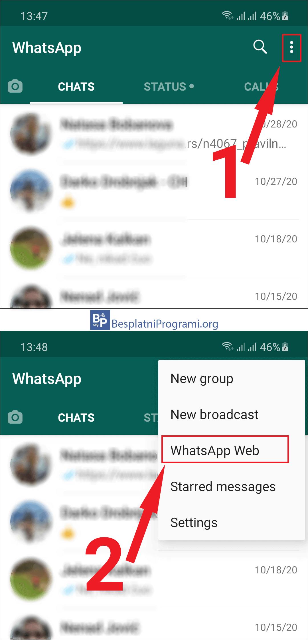 WhatsApp Web podešavanje u meniju