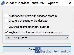Window TopMost Control podešavanja