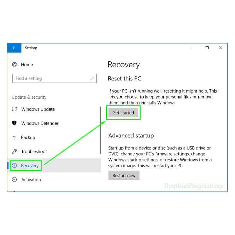 Windows 10 prikaz putanje do opcija za resetovanje