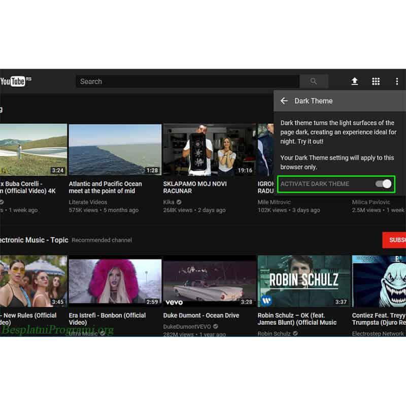 Youtube prikaz Dark Theme aktivacije