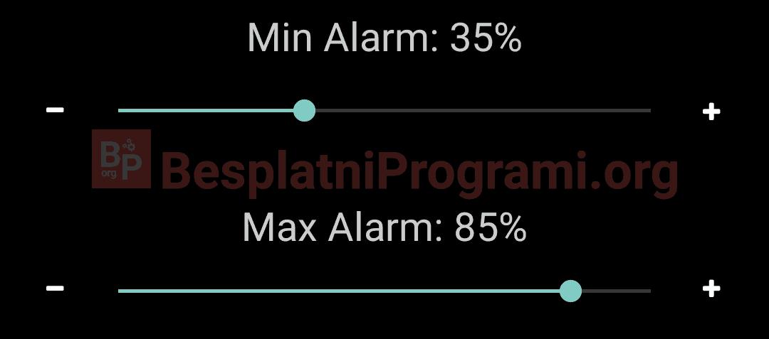 Battery Alarm klizači za podešavanje na koliko napunjenosti će se oglasiti alarm