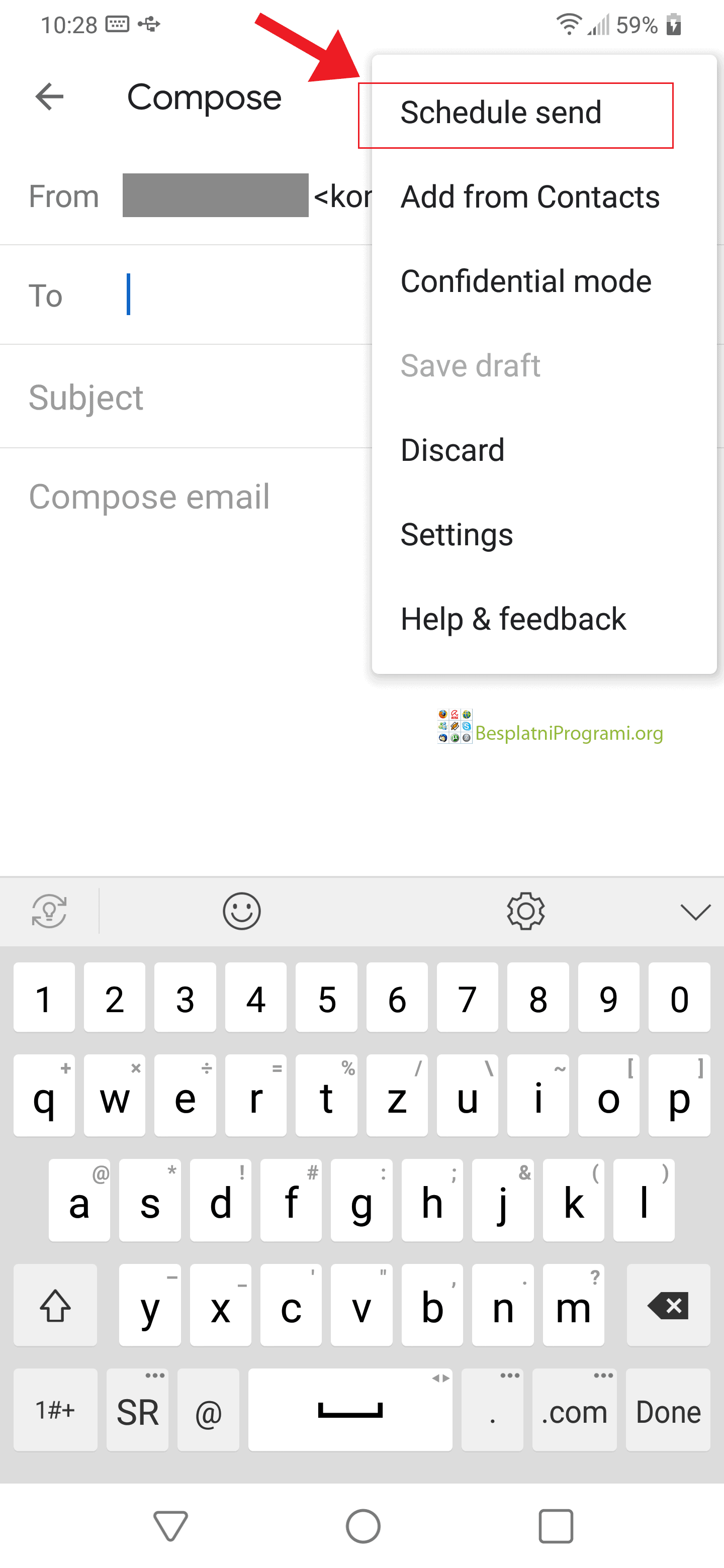 Gmail Android zakaži slanje mejla