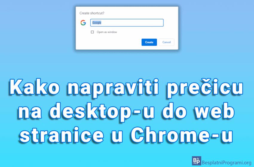 Kako napraviti prečicu na desktop-u do web stranice u Chrome-u