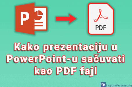 Kako prezentaciju u PowerPoint-u sačuvati kao PDF fajl