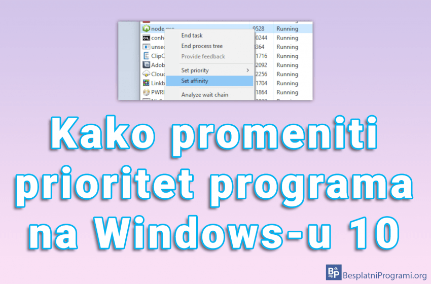 Kako promeniti prioritet programa na Windows-u 10