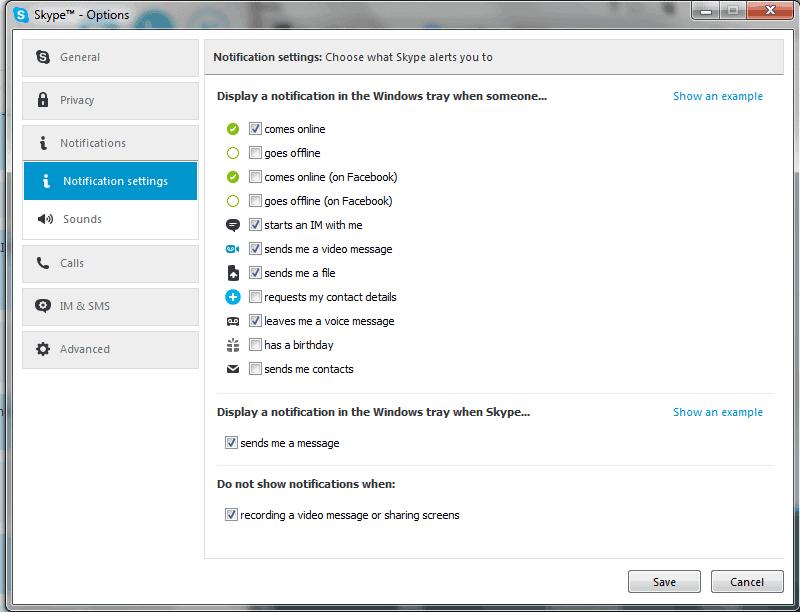 Skype zvučna obavestenja