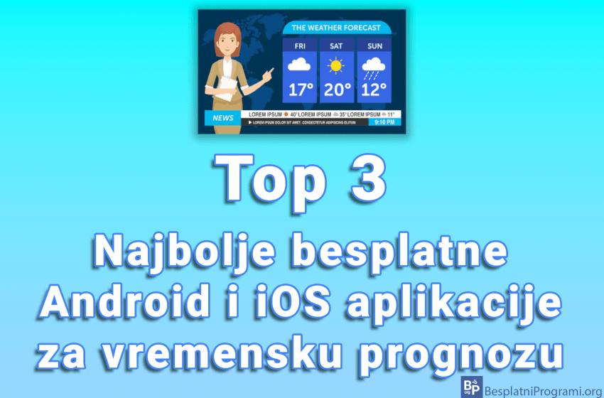 Top 3 najbolje besplatne Android i iOS aplikacije za vremensku prognozu