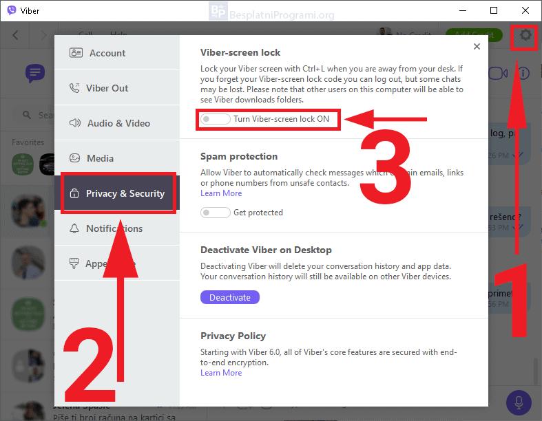 Viber za Desktop - kako zaključati