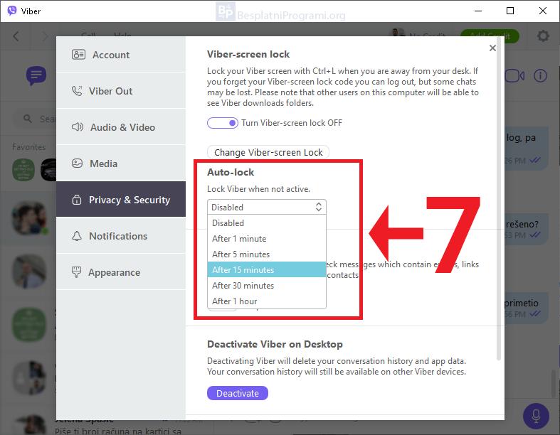Viber za Desktop - podešavanje automatskog zaključavanja